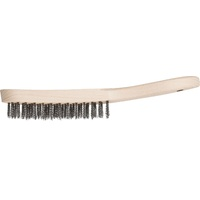 4 Row Hand Scratch Brush Timber Handle 0.30 Stainless Steel (INOX) Wire