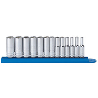 "13 Pc. 1/4"" Drive 6 Point Deep Metric Socket Set"