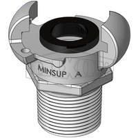 "Minsup Type A Claw Coupling Standard Seal 500PSI SG Iron 3/4"" BSP MALE"