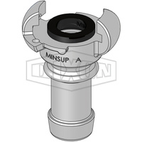 "Minsup Type A Claw Coupling Standard Seal 500PSI SG Iron 1-1/4"" Hose End"