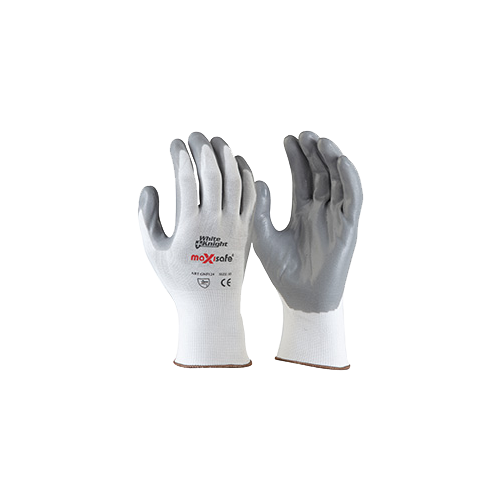 White Knight Nylon Glove With Foam - Nitrile Palm Coating - Xsmall